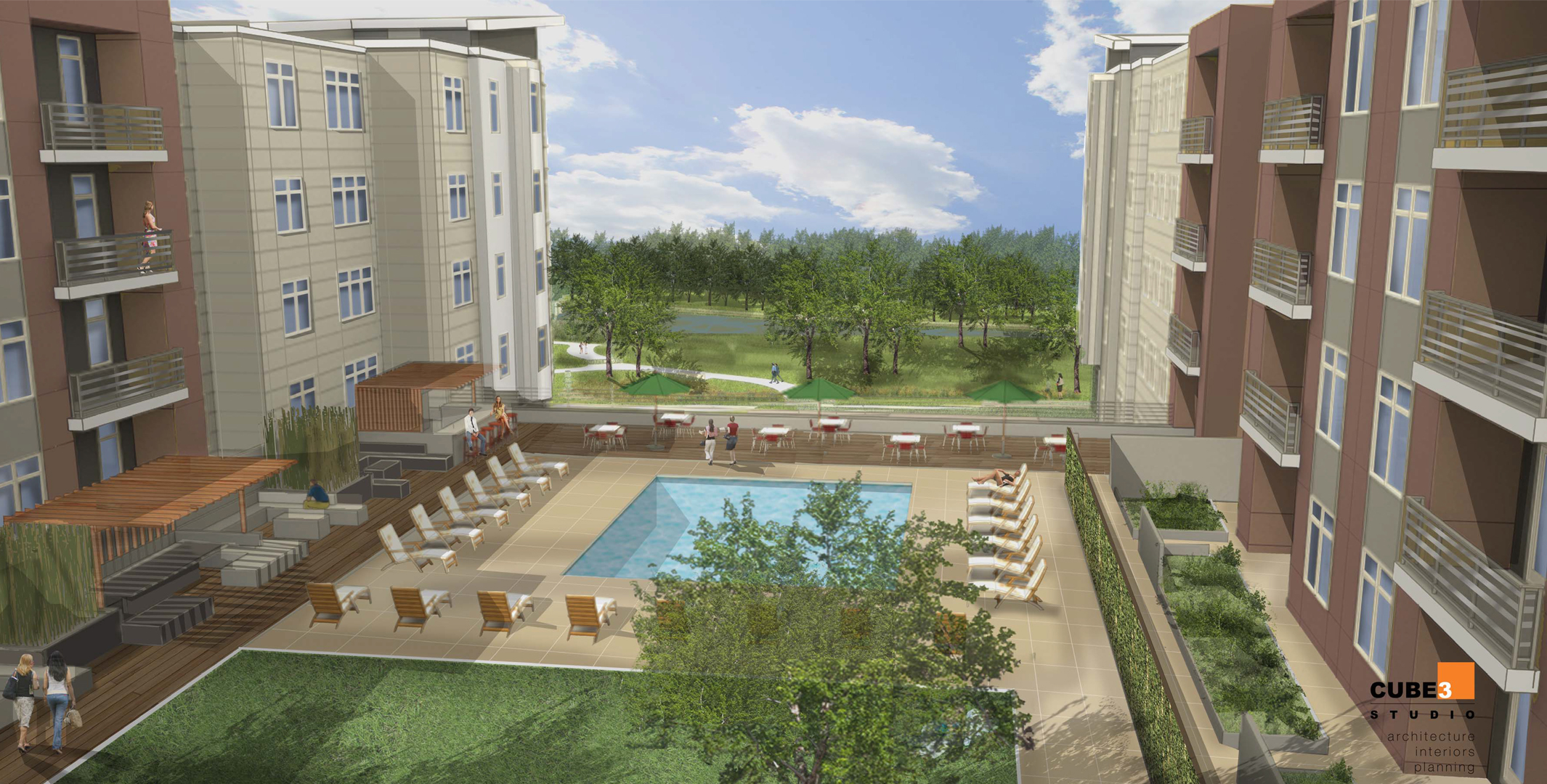Courtyard of Acadia on the Charles, a 200-unit luxury apartment project at 36 River St. in Waltham